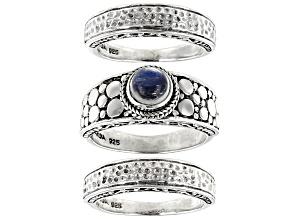 Rainbow Moonstone Cabochon Silver Ring Set Of Three