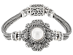 White Cultured Mabe Pearl Sterling Silver Bracelet