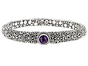 Amethyst Silver Bangle Bracelet 1.18ctw
