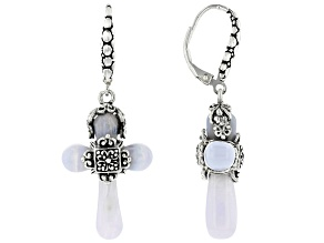Blue Lace Agate Sterling Silver Cross Dangle Earrings