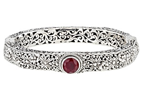 Ruby Sterling Silver Bangle Bracelet 2.13ctw