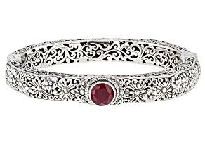 Ruby Sterling Silver Bangle Bracelet 2.13ctw