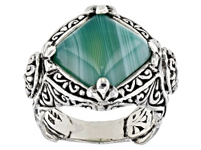 Green Banded Agate Cabochon Silver Solitaire Ring