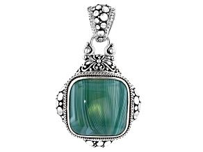 Green Banded Agate Cabochon Silver Pendant
