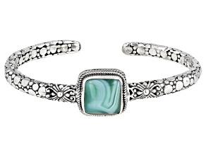 Green Banded Agate Cabochon Silver Bracelet