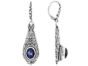 Star Sapphire Cabochon Silver Dangle Earrings 6.12ctw