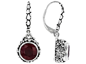 Ruby Sterling Silver Dangle Earrings 4.26ctw