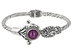 Star Ruby Silver Bangle Bracelet 5.02ctw