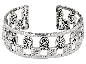 Sterling Silver Hammered Filigree Cuff Bracelet