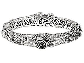 Sterling Silver Rose Bangle Bracelet