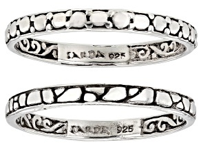 Sterling Silver Band Ring Set Of Two