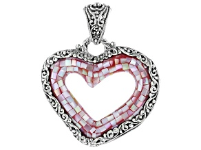 Mosaic Pink Mother Of Pearl Heart Sterling Silver Pendant