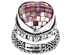 Mosaic Pink Mother Of Pearl Heart Sterling Silver Ring