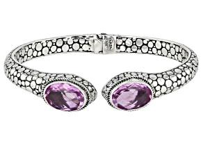 Kunzite Color Quartz Triplet Silver Bracelet