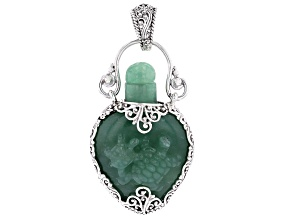 Carved Aventurine Sea Turtle Bottle Silver Pendant