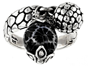 Black Indonesian Coral Bead Silver Charm Ring