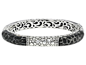 Inlaid Black Indonesian Coral Sterling Silver Bangle Bracelet