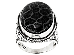 Black Indonesian Coral Cabochon Silver Solitaire Ring