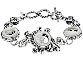 White Mother Of Pearl Moon Sterling Silver Bracelet