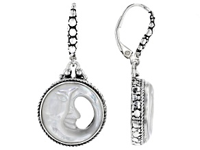 White Mother Of Pearl Moon Sterling Silver Earrings