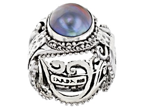 Blue Mabe Pearl Sterling Silver Ring