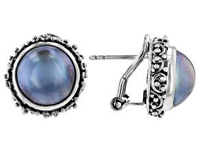 Blue Mabe Pearl Sterling Silver Stud Earrings