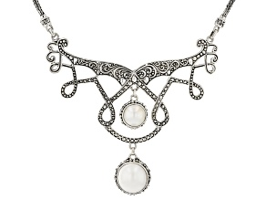 White Mabe Pearl Sterling Silver Bib Necklace
