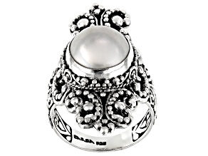 White Mabe Pearl Silver Solitaire Ring