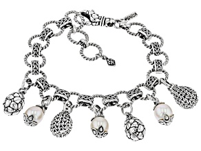 White Cultured Freshwater Pearl Silver Charm Bracelet