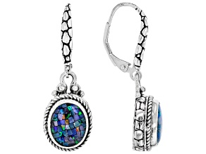 Mosaic Opal Doublet Sterling Silver Dangle Earrings