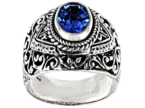 Royal Bali Blue™ Topaz Silver Solitaire Ring 2.04ctw