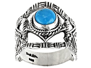 Turquoise Sleeping Beauty Cabochon Silver Ring