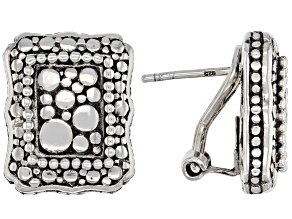 Sterling Silver Open Canvas Rectangular Earrings