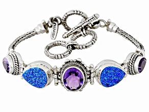 Purple Titanium Drusy Quartz Sterling Silver Bracelet 4.50ctw