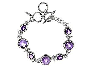 3.79ctw Purple Brazilian and African Amethyst Sterling Silver Station Bracelet