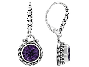 Purple Brazilian Amethyst Sterling Silver Dangle Earrings 1.70ctw