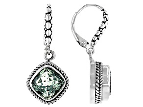 Green Prasiolite Sterling Silver Dangle Earrings 2.64ctw