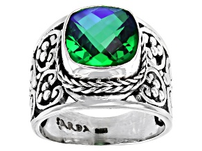 Rainbow Peridot Quartz Sterling Silver Ring 2.77ct