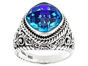 Rainbow Caribbean Quartz Sterling Silver Ring 3.61ct