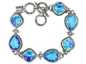 Rainbow Caribbean Quartz Sterling Silver Bracelet 11.60ctw