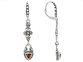 Citrine Sterling Silver Dangle Earrings 0.77ctw