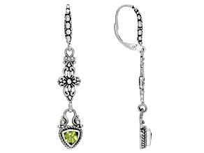 Green Peridot Sterling Silver Dangle Earrings 0.46ctw