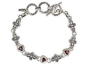 Red Ruby Sterling Silver Bracelet 0.85ctw