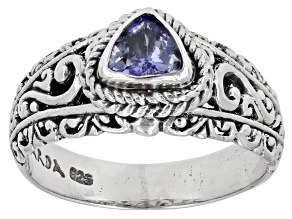Blue Tanzanite Sterling Silver Ring 0.41ct