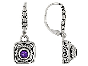 Purple Amethyst Sterling Silver Earrings 0.20ctw