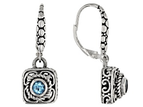 Blue Topaz Sterling Silver Earrings 0.22ctw