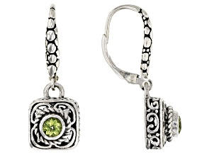 Green Peridot Sterling Silver Earrings 0.22ctw
