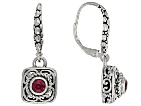 Red Ruby Sterling Silver Earrings 0.32ctw