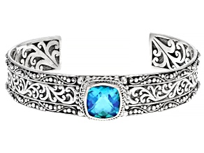Rainbow Caribbean Quartz Sterling Silver Cuff Bracelet 4.48ct
