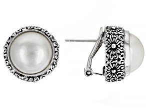 White  Cultured  Mabe Pearl Stud Earrings 12mm